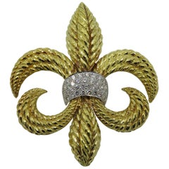 David Webb Platinum, Diamond and Gold Fleur-de-Lis Brooch