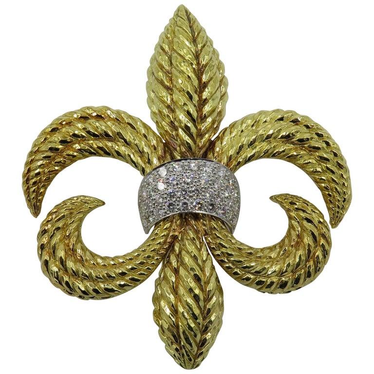 David Webb Platinum, Diamond and Gold Fleur-de-Lis Brooch