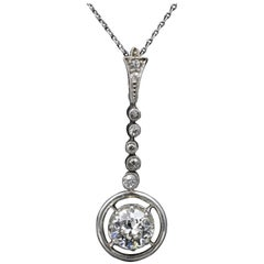 French Platinum and Diamonds Art Deco Pendant