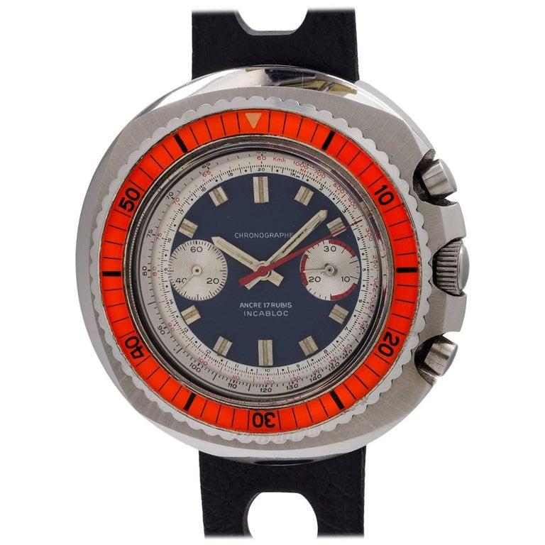 Swiss Stainless Steel Chronographe Manual Wind Wristwatch, circa 1960s
