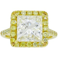 3.63 Carat Diamond Halo Engagement Ring