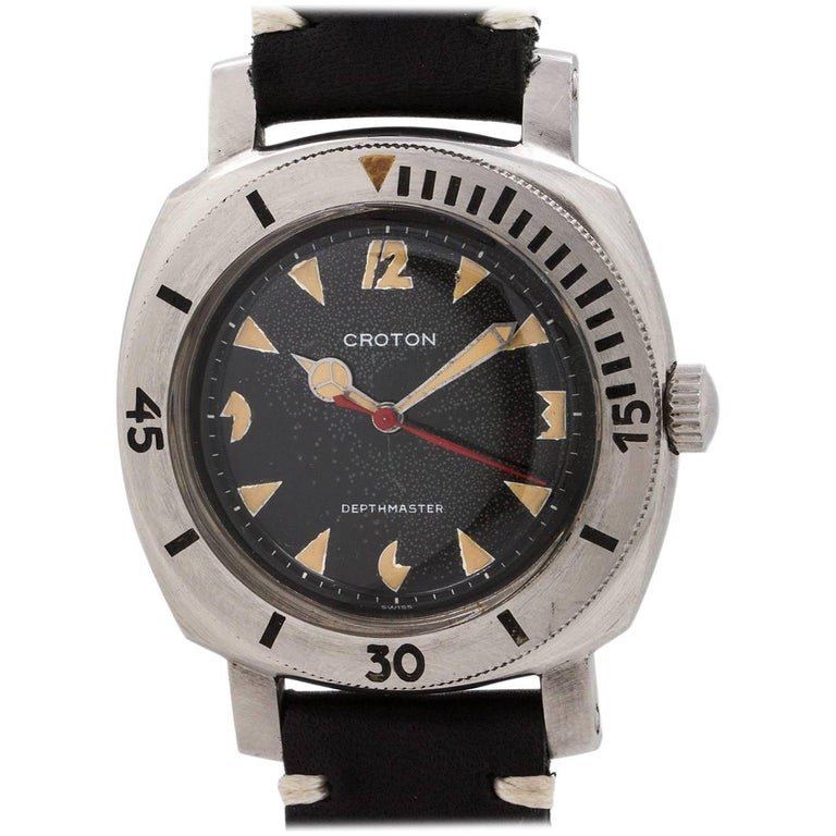Croton stainless steel Depthmaster 1000 Diver's Pac Man Self Winding  Wristwatch