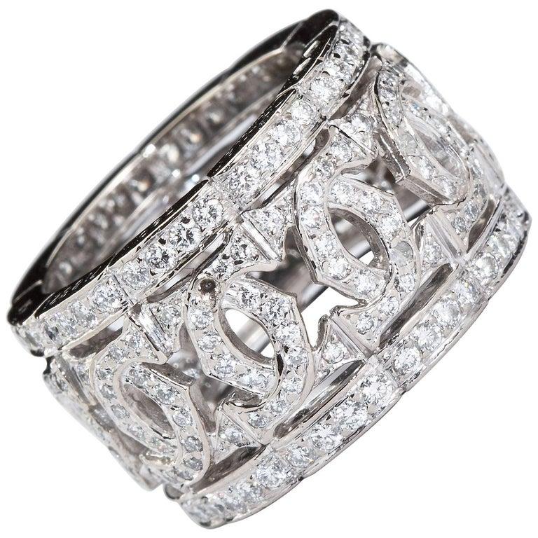 Cartier Paris Double C Vintage Diamond White Gold Wide Band Ring