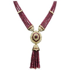 Important Ruby Diamonds Beads Bead Necklace