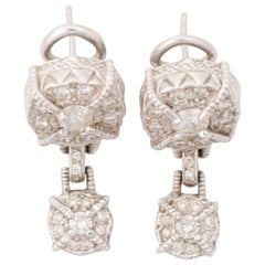 Judith Ripka 1 Carat Diamond and 18 Karat Gold Dangle Earrings
