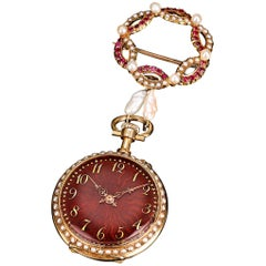 Ruby and Pearl Lapel Watch