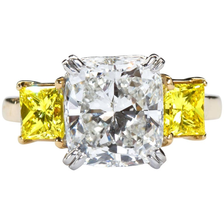 3.55 Carat Cushion Cut Diamond and Fancy Intense Yellow Princess Sides Ring GIA For Sale