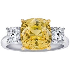 6.42 Carat Cushion Yellow Sapphire and Diamond Platinum Ring