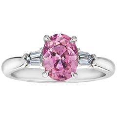 1.97 Carat Oval Pink Sapphire and Diamond Platinum Ring