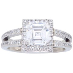 Platinum Simon G Diamond Halo Engagement Ring