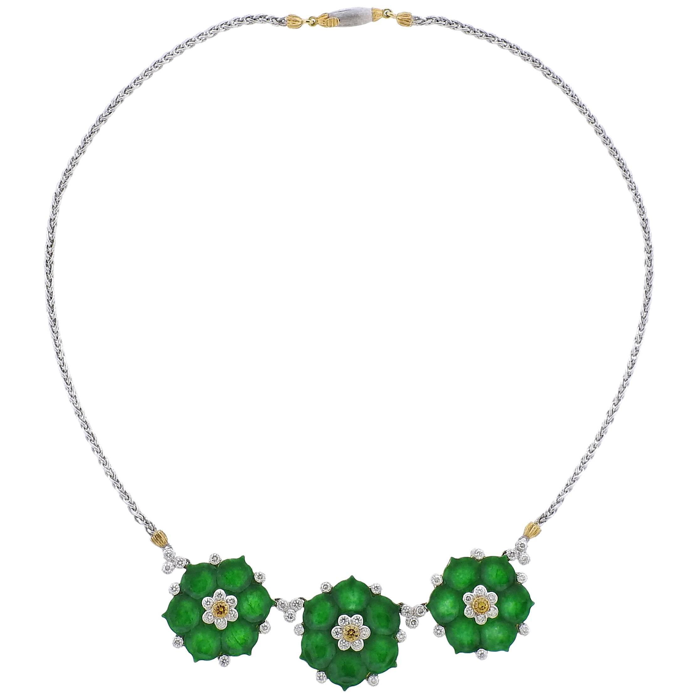 Buccellati Jade Diamond Gold Flower Necklace