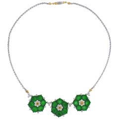 Buccellati Jade Diamond Gold Flower Necklace