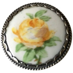 Royal Copenhagen Porcelain Button in Silver Mounting with Yellow Rose Decoration