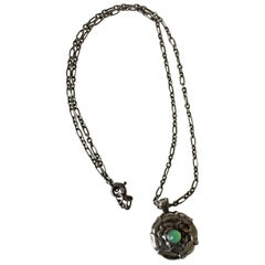 Georg Jensen Sterling Silver Necklace with Green Stone