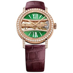 Corum Rose Gold Golden Bridge Round 39 Lady Green Wristwatch