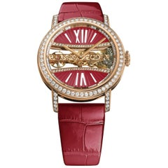 Corum Ladies Rose Gold Golden Bridge Round 39 Lady Red Wristwatch