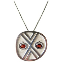 Oswaldo Guayasamin Sterling Silver Kinetic Garnets Abstract Mask Necklace