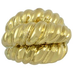 Yellow Gold Three-Row Twisted Rope Ring