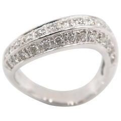 Boon Wavy White Diamond White Gold Band Ring