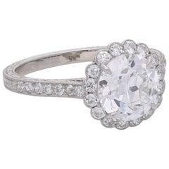 2.02 Carat Old European Brilliant Cut Diamond and Platinum Halo Cluster Ring