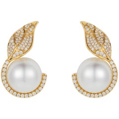 Nadine Aysoy 18K Yellow Gold, White Diamond and South Sea Pearl Stud Earrings