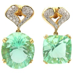 Fluorite Diamond Yellow Gold Drop Earrings