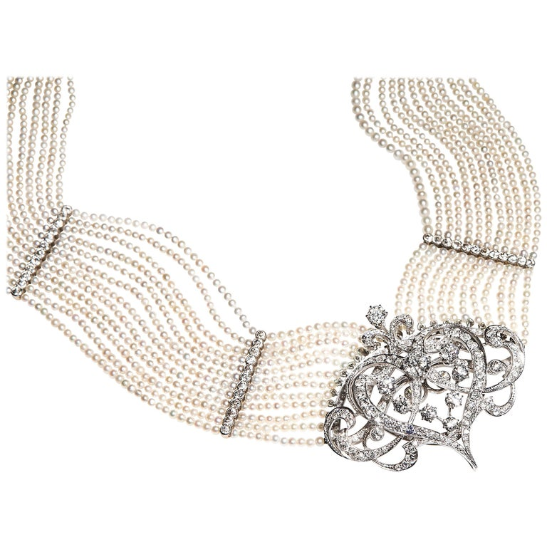 Seed Pearl and Diamond Choker