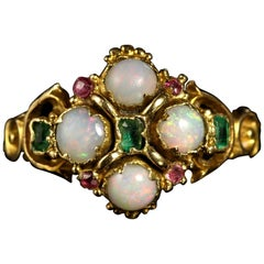 Antique Georgian Opal Emerald Ruby 18 Carat Gold Ring, circa 1790