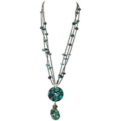 Turquoise Long Necklace Gold Ematite