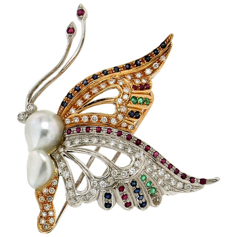 Butterfly Yellow and White Gold Pearl, Diamonds Brooch