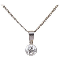Art Deco 0.85 Carat Diamond Pendant on a Modern 18 Carat White Gold Chain