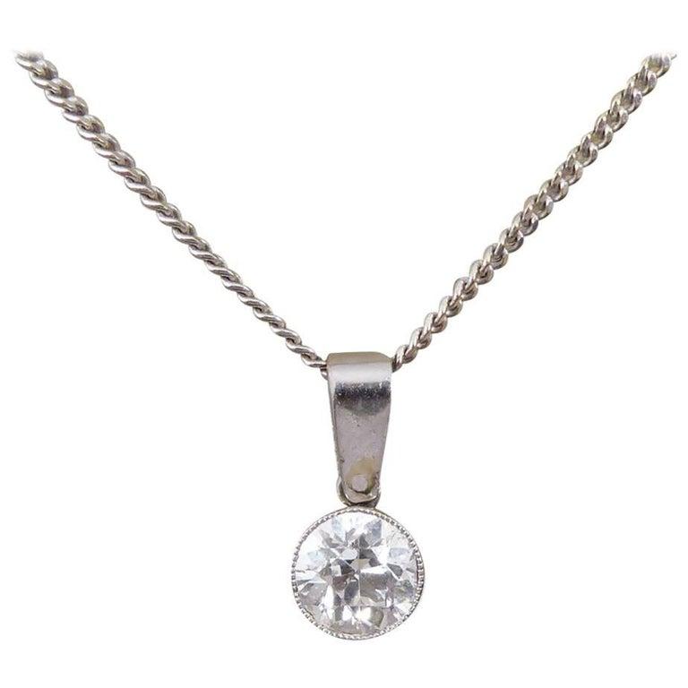 Art Deco 0.85 Carat Diamond Pendant on a Modern 18 Carat White Gold Chain For Sale