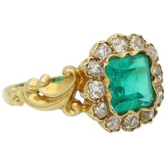 Colombian Emerald and Old Cut Diamond Square Cluster Ring, circa 1890