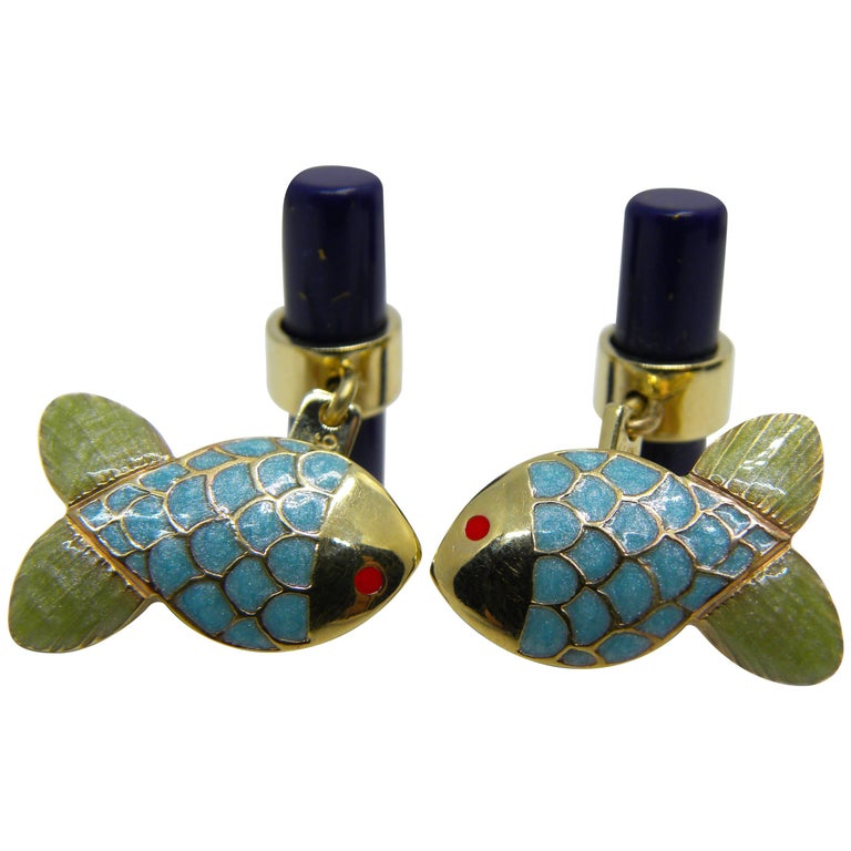 Hand Enamelled Little Fish Shaped Lapis Stick Back Yellow Gold Cufflinks For Sale