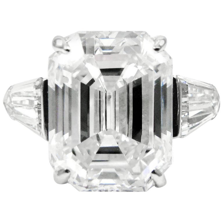 Harry Winston 6.36 Carat E VS1 Emerald Cut Diamond Platinum Ring GIA