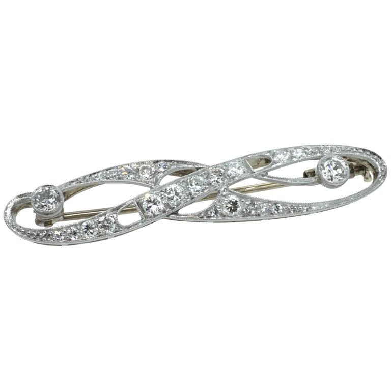 Art Deco Brooch White Gold Diamond