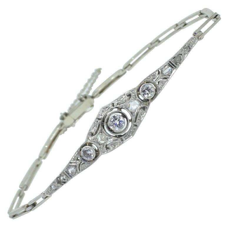 Art Deco White Gold Bracelet Diamond 1920