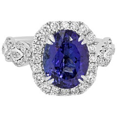 4.00 Carat Cushion Tanzanite Diamond Halo Gold Ring
