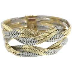 Gold Bracelet Lady Braided Gold Wires Italian Design 18 Carat Gold