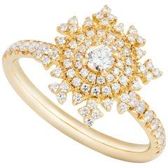 Nadine Aysoy 18 Karat Yellow Gold and White Round-cut Diamond Engagement Ring