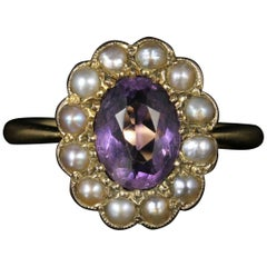 Antique Victorian Amethyst Pearl Cluster Ring 18 Carat Gold