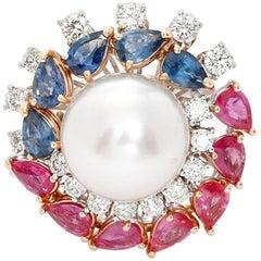 14 Karat White Gold Multi Stone and Diamond Ring