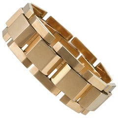 French Retro Gold 'Tank Track' Link Bracelet