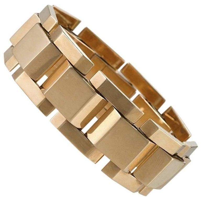 French Retro Gold 'Tank Track' Link Bracelet