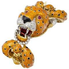Frascarolo Enamel Diamond Ruby Leopard Bracelet