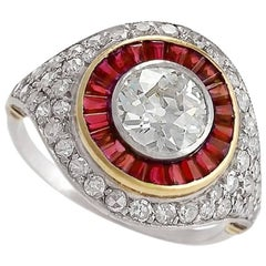 Art Deco Diamond and Ruby Cluster Ring