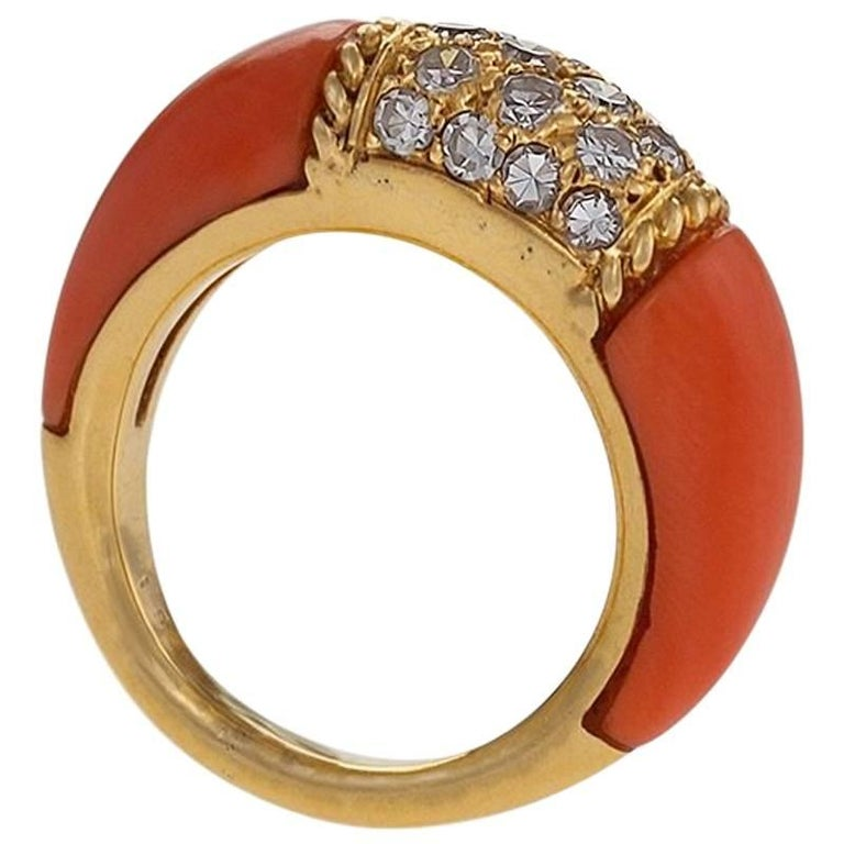 Van Cleef & Arpels Diamond and Pink Coral 'Philippine' Ring
