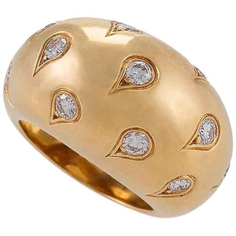 Cartier Paris 1990s Diamond and Gold Bombé Ring 1