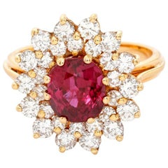 18 Karat Yellow Gold Ruby and Diamond Cocktail Ring