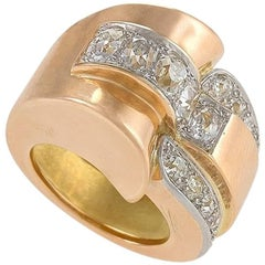 Retro Continental Diamond and Gold Ring
